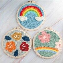 Kits de bordado de lã diy para iniciantes 2020 desenhos animados kits de bordado para crianças kits de ponto cruz bordado conjunto como melhores presentes para casa