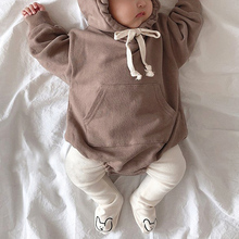 MILANCEL 2021 Autumn Baby Bodysuits Little Bear Ears Baby Boys Bodysuit Velvet Children Hoody Bodysuit (NO TIGHTS)