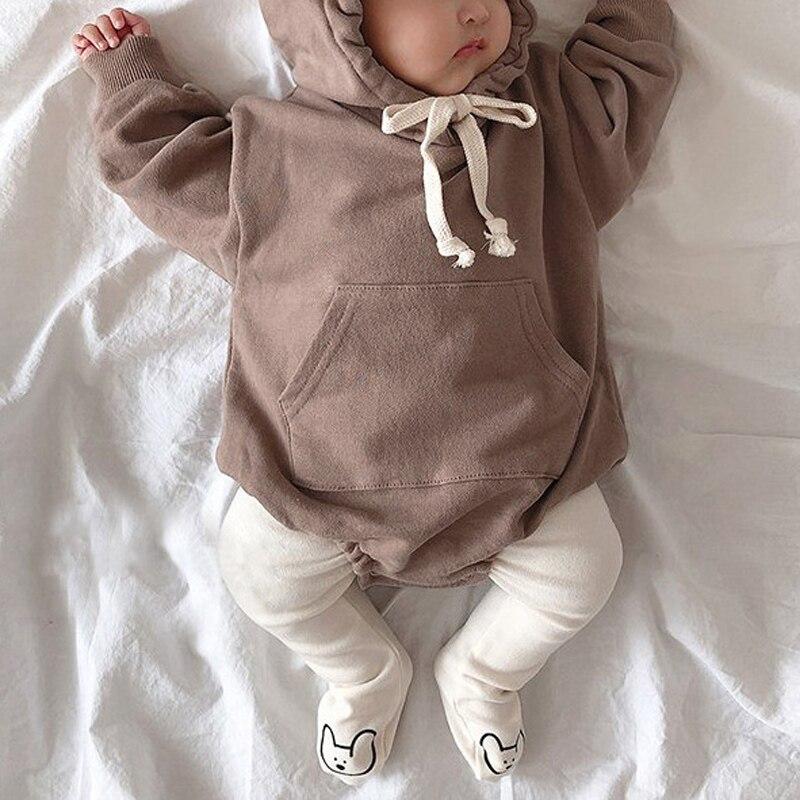 MILANCEL Autumn Baby Bodysuits Little Bear Ears Baby Boys Bodysuit Velvet Children Hoody Bodysuit