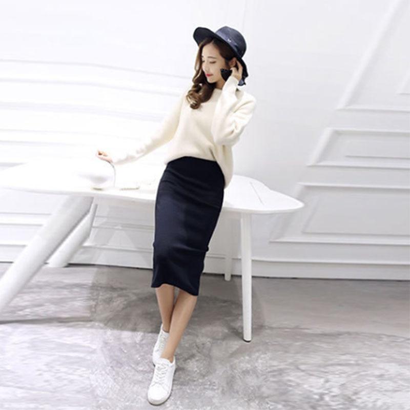 Women Solid Casual Pencil Skirt Sexy Cotton Elastic Rib Knit Bag Hip Split Midi Split Skirt