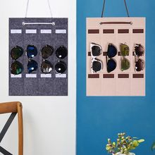 12 Slot Felt Sunglasses Storage Wall Hanging Bag Glasses Finishing Exhibition Display Holder Container Storage Bag