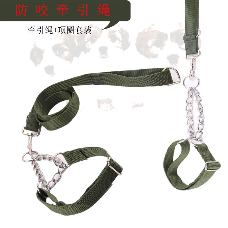 New Style Autumn And Winter Pet Traction Rope Dog Neck Ring Set Anti-Bite Reinforced Iron Chain Dog Traction Rope Rope Pet Dog S