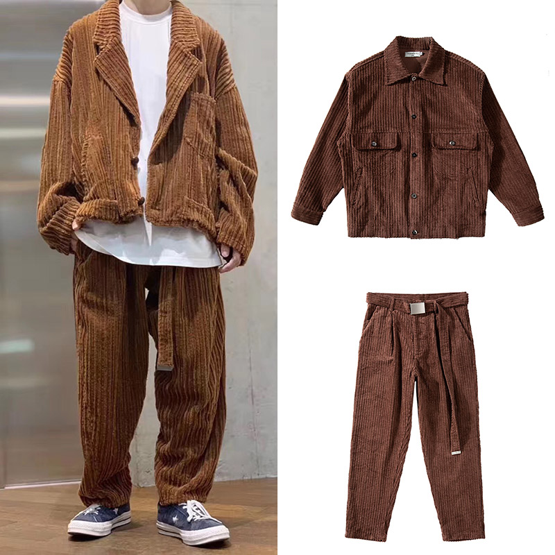 Harajuku Corduory Two Piece Set Mens Long Sleeve Jacket & Sashes Straight Baggy Pants Suit Sets Streetwear Loose Tracksuit