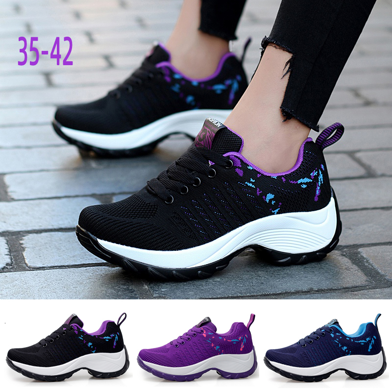 Flarut Women Tennis Shoes Sneakers Basket Femme Thick Bottom Platform Lace-Up Breathable Woman Shoes Ladies Height Wedge Shoes 1