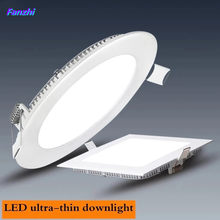 Recessed LED Panel Light, 3W, 6W, 9W, 12W, 15W, 18W, 25W, Indoor LED Ceiling Down Light, AC110V, 220V, Driver Incl