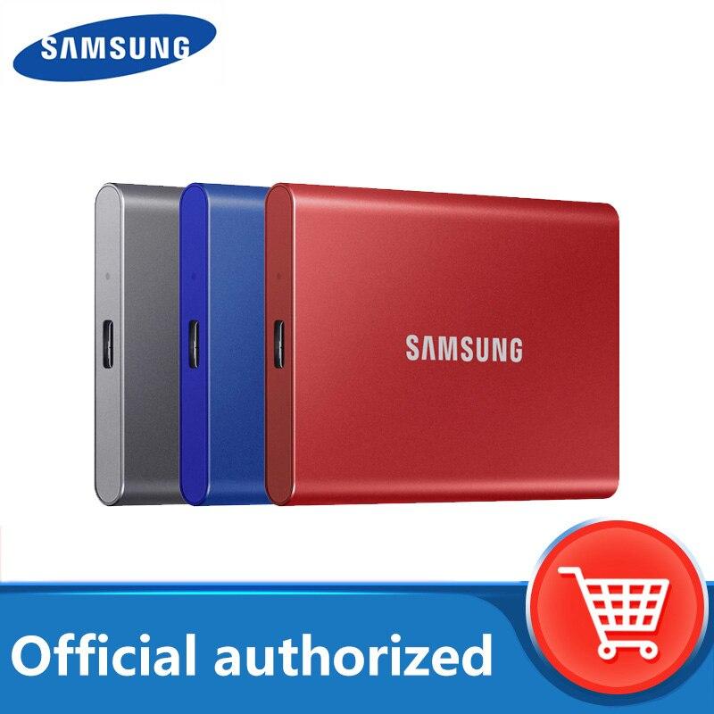 Samsung T7 портативный ssd 1 ТБ 500 ГБ 2 ТБ Внешние накопители disco duro externo Type-C USB 3,2 Совместимость для ноутбука