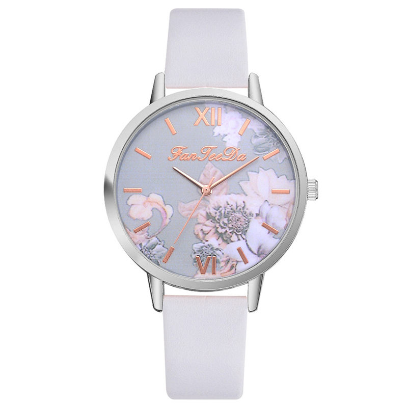 Fashion Ladies Watches Women Printed Flower Wrist Watch Luxury Casual Quartz Leather Wrist Watch Fashion Female Dress Clock #D