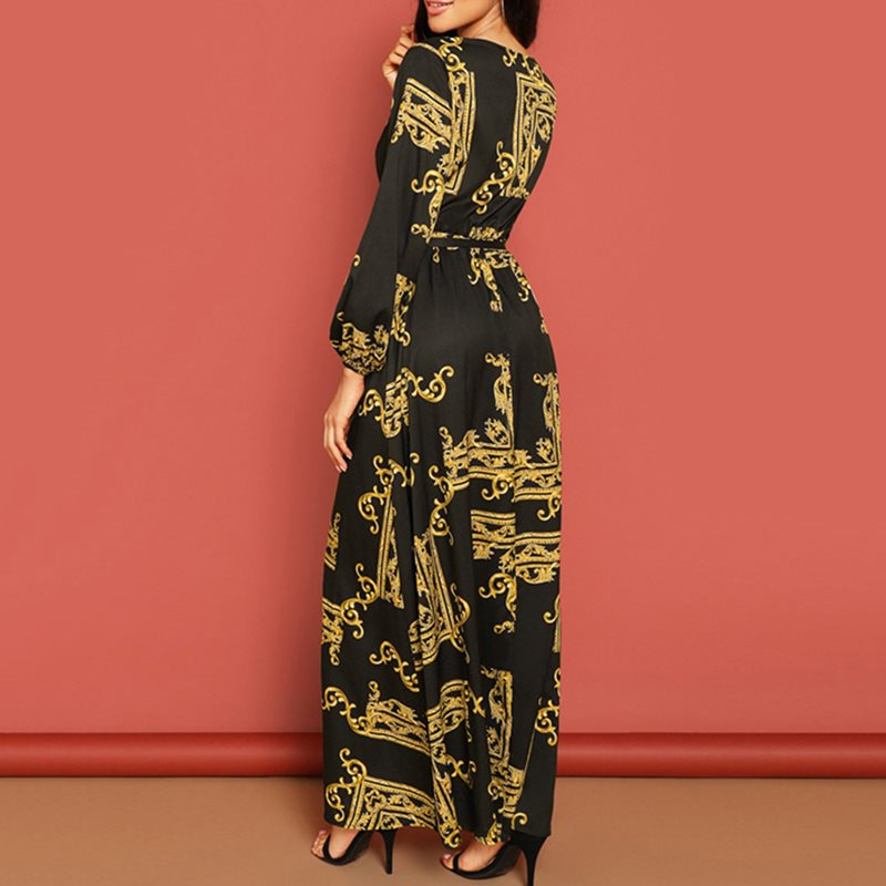 Chic Robe Women 2019 Autumn Vintage High Waist Long Maxi Dress Retro Long Sleeve Office Causal Party Holiday Dresses with Belt in Dresses from Women 39 s Clothing