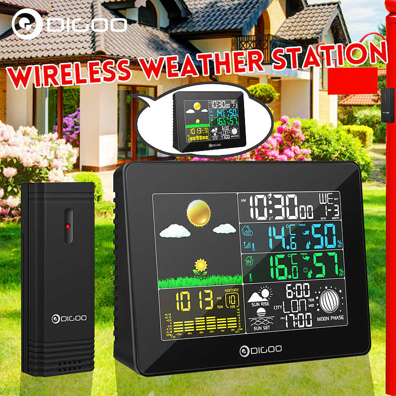 Digoo DG-TH8868 Digital Weather Station Wireless + Outdoor Indoor Sensor Instrumen Suhu Hygrometer Thermometer Clock