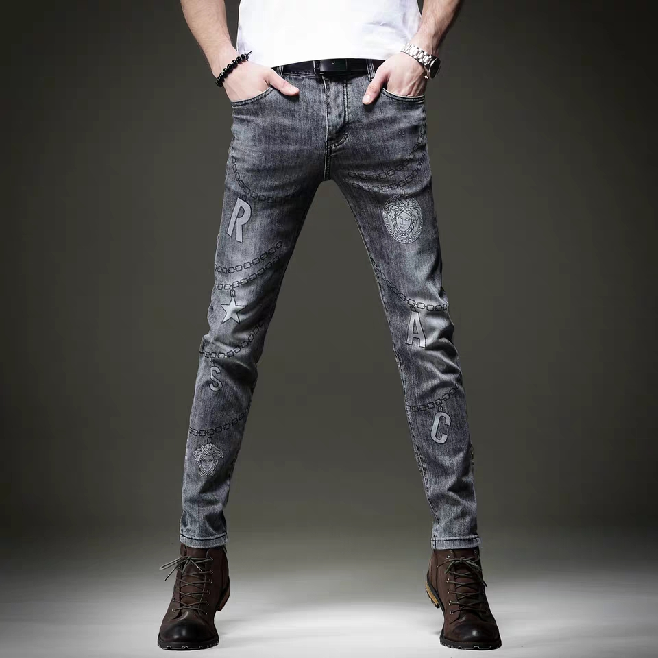 Free Shipping New 2020 men's male Spring Chain printing jeans European and American casual pants Korean trend slim trousers