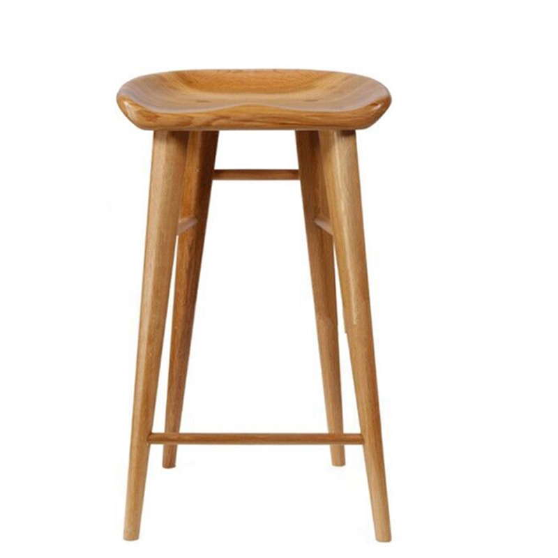 Solid Wood Bar Chair Dining Chair Domestic Nordic Log Bar Chair Simple Leisure High Foot Stool Front Desk Chair Bar Stool
