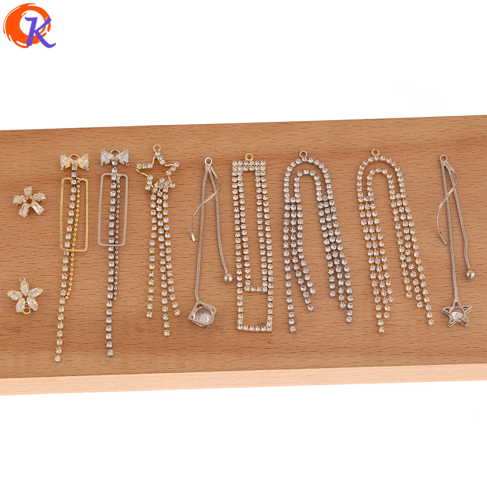 Cordial Design 50Pcs DIY Jewelry Making/Hand Made/CZ Earrings Connectors/Rhinestone Claw Chain/Jewelry Findings Component