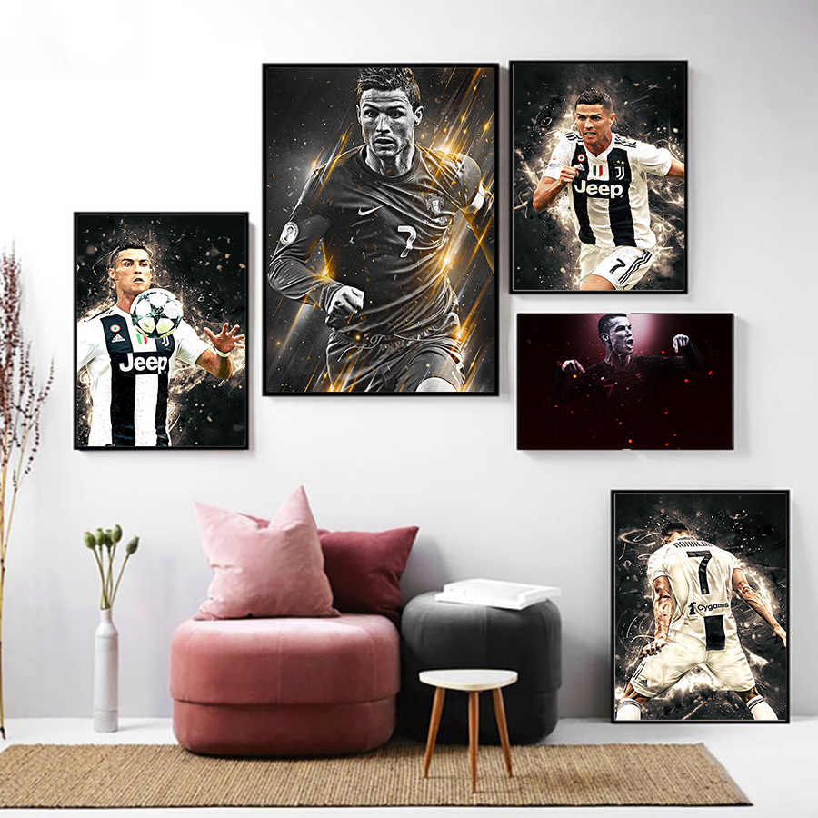 Cristiano Ronaldo Canvas Painting Figure Picture Wall Art Poster and Prints Boys Kids Bedroom Playroom Soccer Stars Wall Pop Art