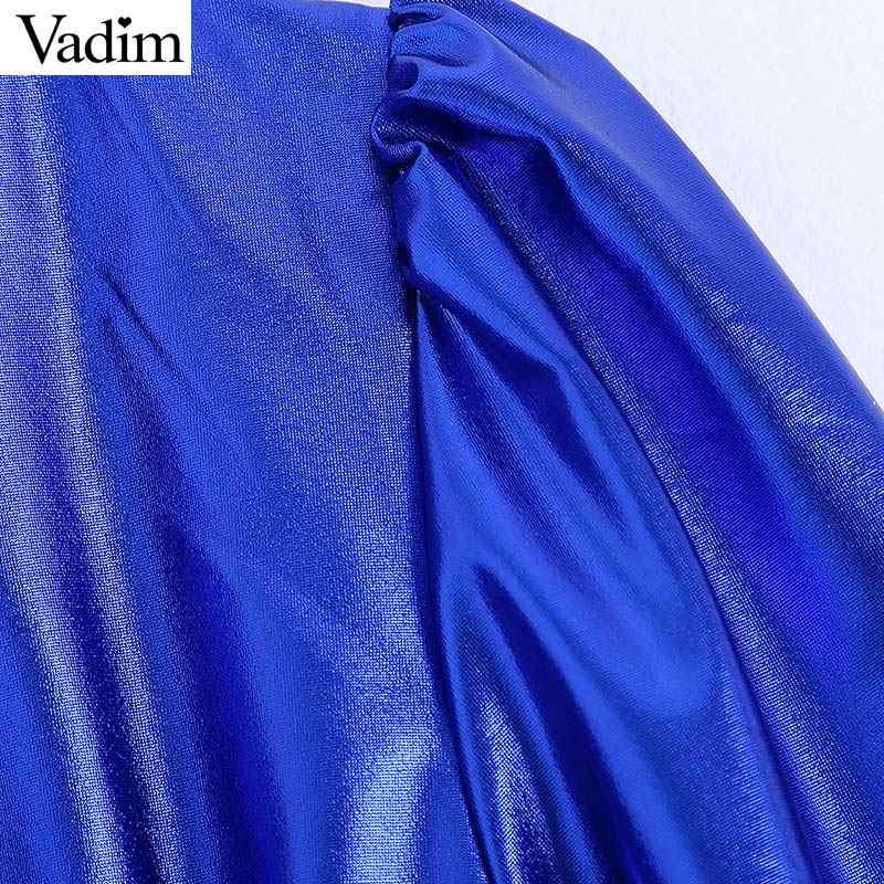 Vadim Womem Stylich Sáng Bóng Xanh Dương Đầm Cổ V Chéo Thiết Kế Thắt Nơ Tất Nửa Tay Đảng Câu Lạc Bộ Mini Áo vestidos QD001