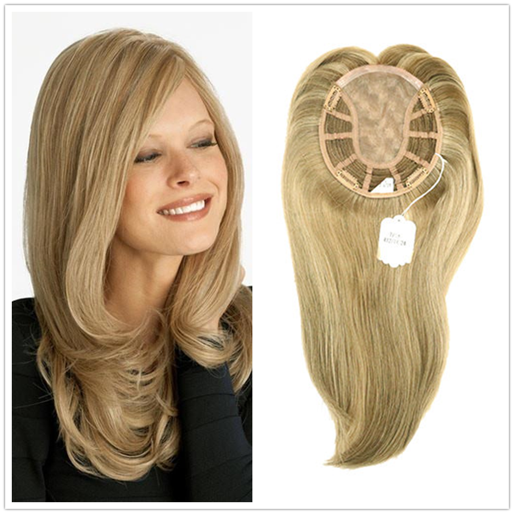 Hstonir European Remy Hair Topper Kosher Closure Wig For Women Toupee Mono Lace Fall Wig TP18