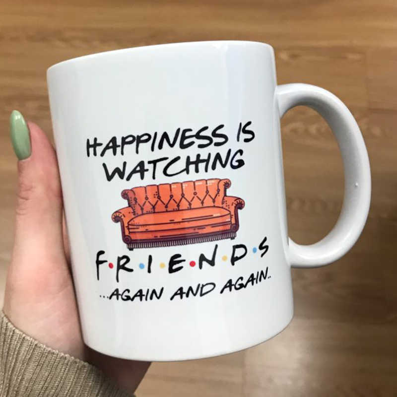 1 قطعة جديد 350 مللي أبيض اللون أصدقاء أكواب موجز السعادة هو مشاهدة السفر كوب البيرة القهوة الحليب الشاي الصباح كوب هدية للأصدقاء