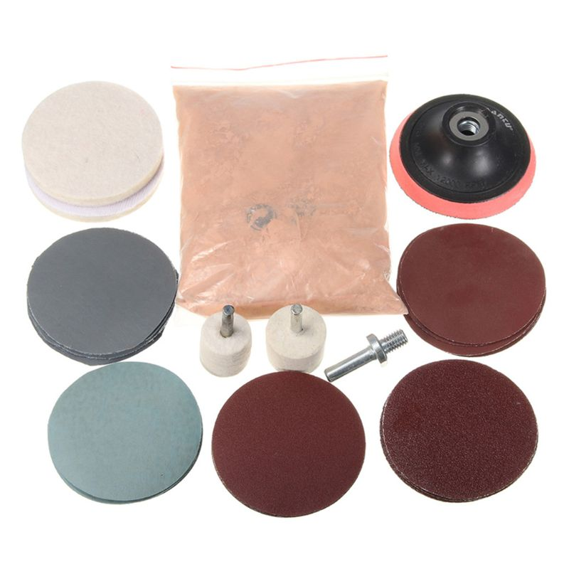 230g Cerium Oxide Polishing Powder And Felt Polishing Wheel Pad Drill Adapter Y98E
