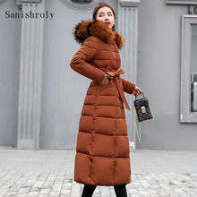 Sanishroly Autumn Winter Women Big Fur Collar Coat Warm Thicken White Duck Down Jacket Parka Female Long Hooded Outerwear SE781(China)