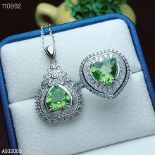 KJJEAXCMY Fine Jewelry 925 sterling silver inlaid natural Peridot female ring pendant set classic Support detection kjjeaxcmy fine jewelry 925 sterling silver inlaid natural opal female ring pendant set classic support detection