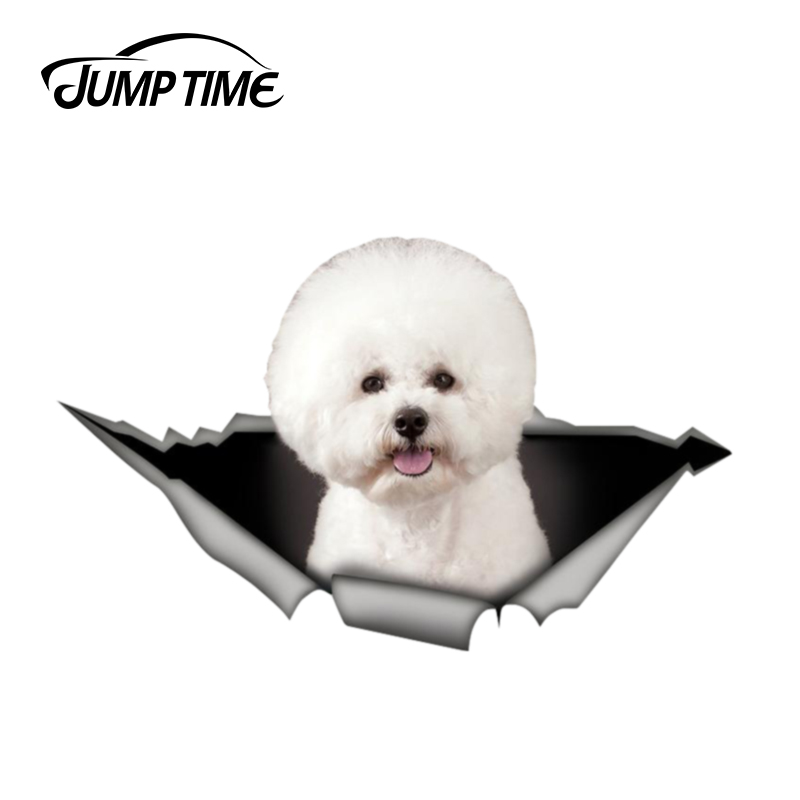Jump Time 13cm X 8m Bichon Frise Sticker Torn Metal Bumper Decal Funny Car Stickers Window Trunk Animal 3D Car Styling