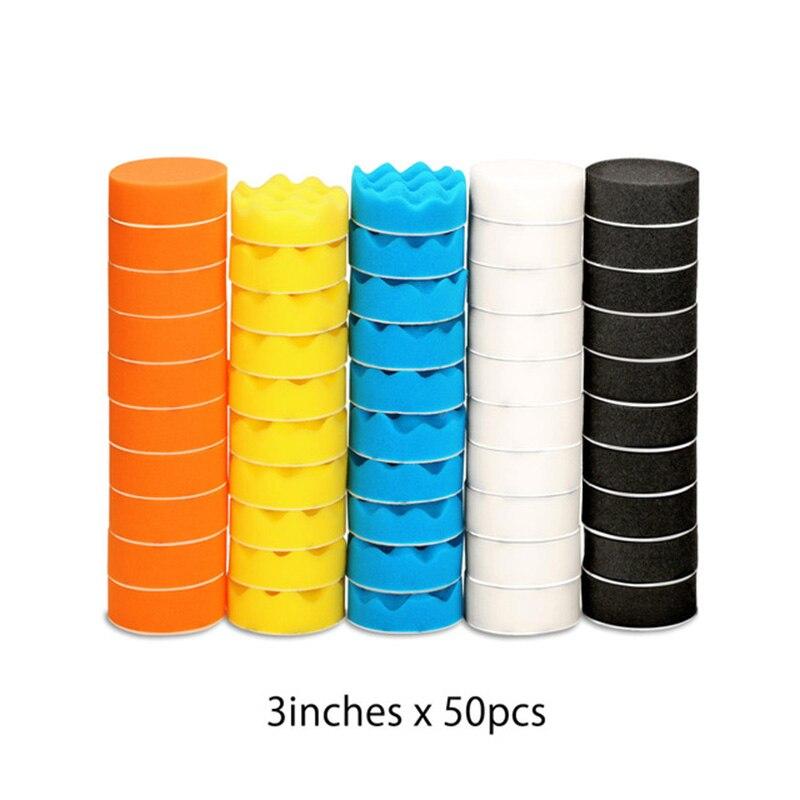 50pcs 3 inch/75mm Diameter Polishing Sponge Pads Discs Car Cleaning Waxing Tool  high quality