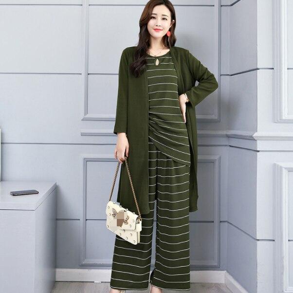 Pring listrado 3 peças define feminino colete cardigan e calças largas perna define ternos escritório elegante senhoras 3 peças define dg146