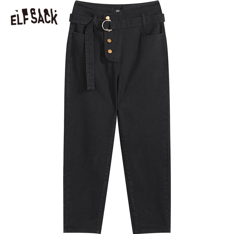 Image 5 - ELFSACK Black Solid Single Button Casual Pants Women 2020 Winter Mid Waist Belted Straight Loose Office Ladies Basic TrousersPants & Capris   -