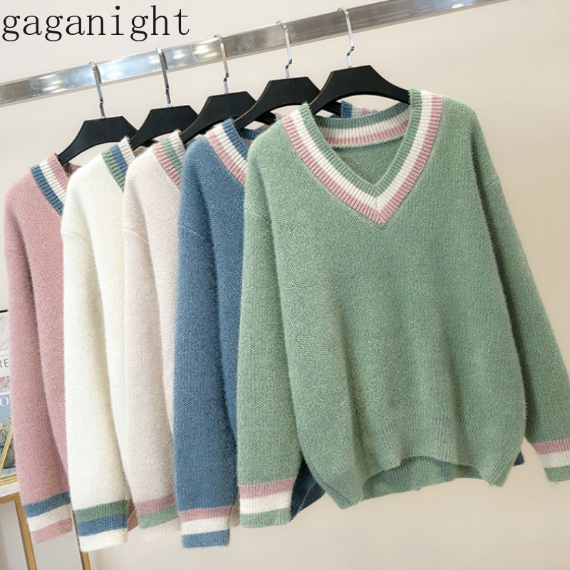 Gaganight Lurex Thick Winter Warm Sweater Women Long Sleeve V Neck Solid Pullover Girls Loose Sweaters Office Lady Plus Size