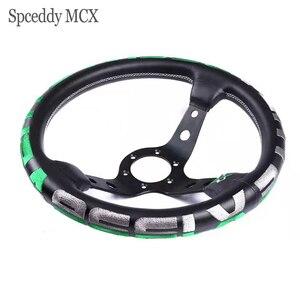 Spceddy MCX 14 дюймов 340 мм, замша, кожа, гоночный, спортивный, рулевое колесо, вышивка, кожа, гоночный руль с двумя логотипами