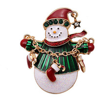 Fashion Lovely Enamel Christmas Snowman Brooch For Women New Year Gift Jewelry