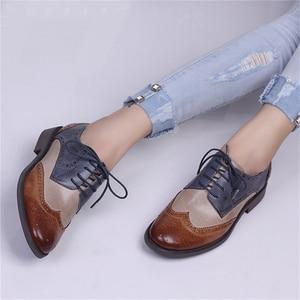 Image 2 - Yinzo Frauen Wohnungen Oxford Schuhe Frau Echtem Leder Turnschuhe Damen Brogues Vintage Casual Schuhe Schuhe Für Frauen Schuhe 2020