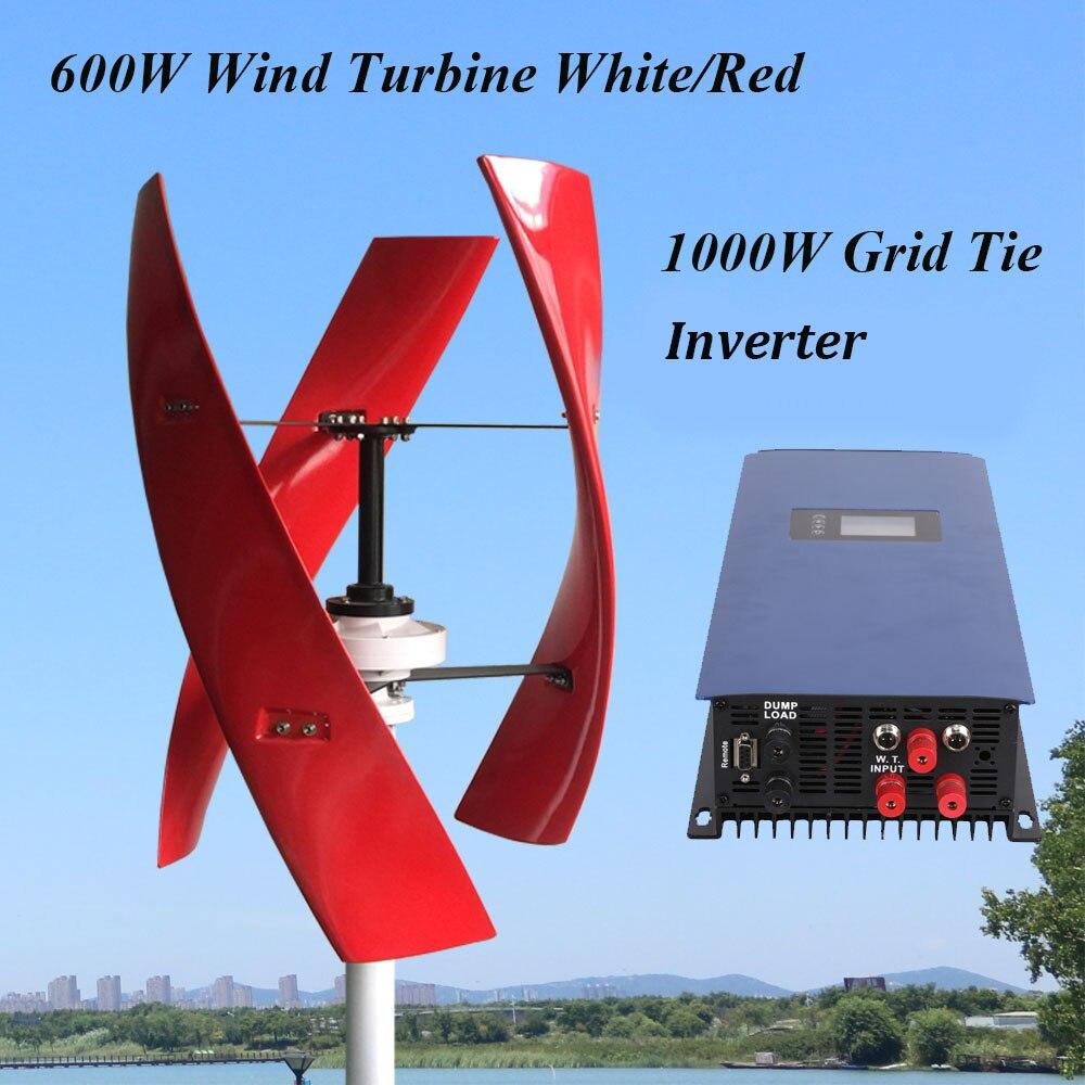 FLTXNY 600w 12v 24v 48v 300 tr/min éolienne verticale générateur de vent à lévitation magnétique avec 1000w sur l'inverseur de lien de grille