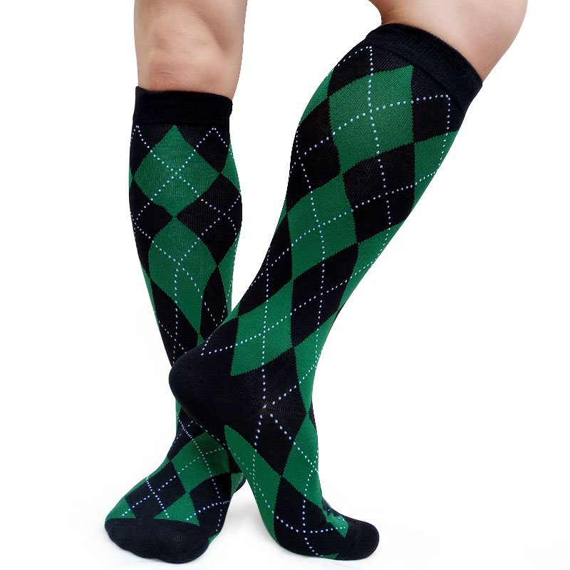 Gentlemen Formal Dress Socks Plaid Knee High Breathable Men Cotton Sock Hose Stocking Sexy Collection Male Sox
