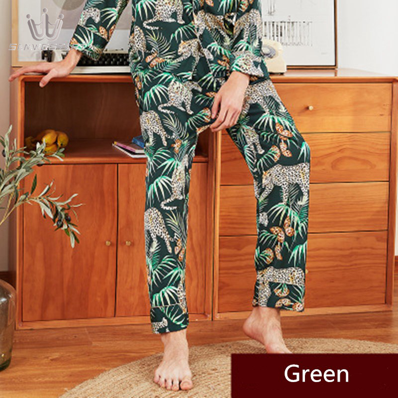 2020 Men's Pajamas Male Pyjama Autumn Long Sleep Bottoms Pants Sleepwear Elastic Waist Wine Red Homewear Outwear Fit All Season
