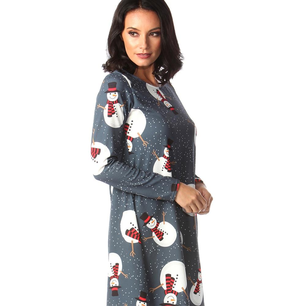 Print Long Sleeve Autumn Winter Christmas Dress Women 19 Casual Loose Short Party Dress Plus Size S-5XL Vestidos 29