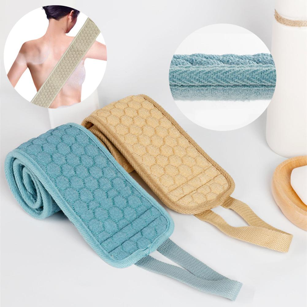 Double-Sided Soft Fiber Exfoliating Back Strap Shower Loofah Body Bath Towel Sponges Bathroom