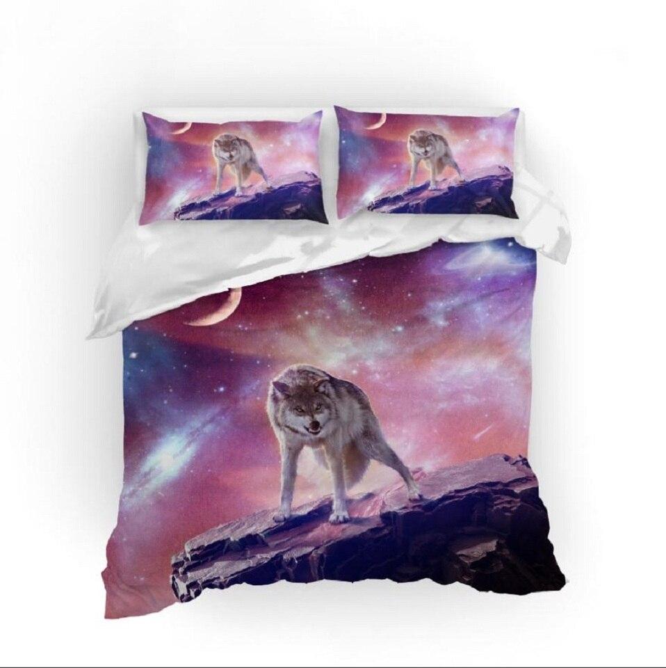Purple Galaxy Wolf Comforter Cover Cute Animals Bedding Sets Teens Boys Room Decor Bedspread Single Double Microfiber Bed Set Bedding Sets AliExpress
