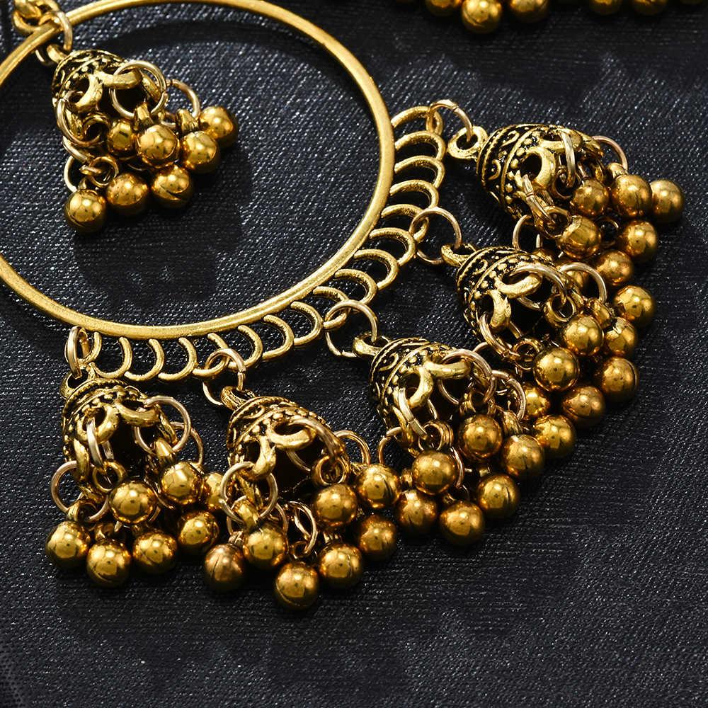 אופנה נשים הודי Jhumka תכשיטי זהב Boho בציר אתני עגילי עגילי תכשיטי עגילים