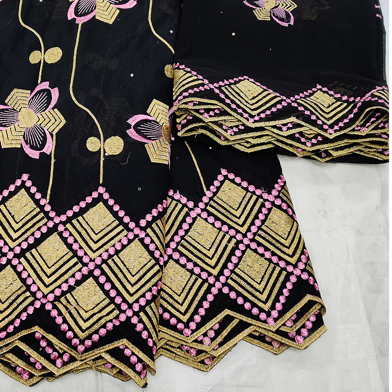 Swiss voile lace in switzerland 5+2 yards/set black african lace fabric 2019 high quality lace cotton fabrics for nigerian party