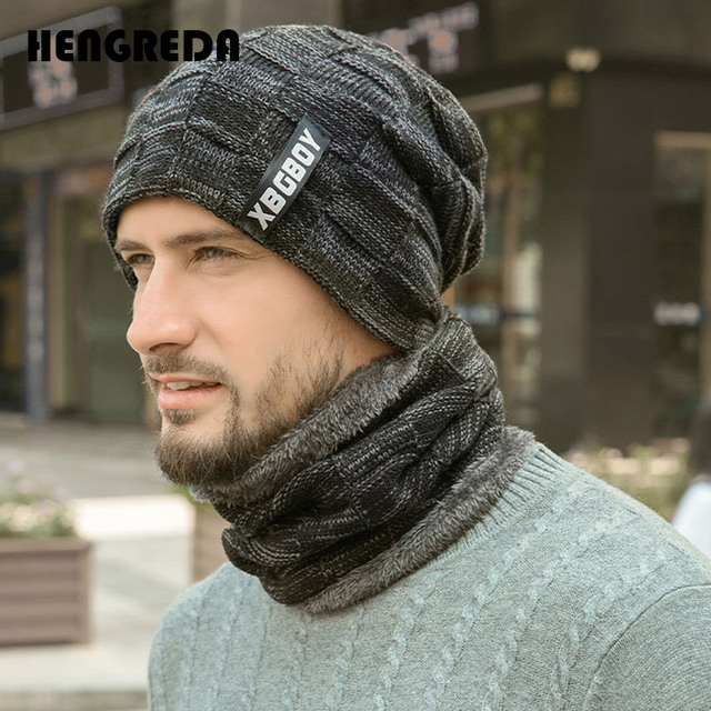 2019 Winter Beanie Hats Scarf Set Warm Knit Hat Skull Cap Neck Warmer with Thick Fleece Lined Winter Hat and Scarf for Men Women 1