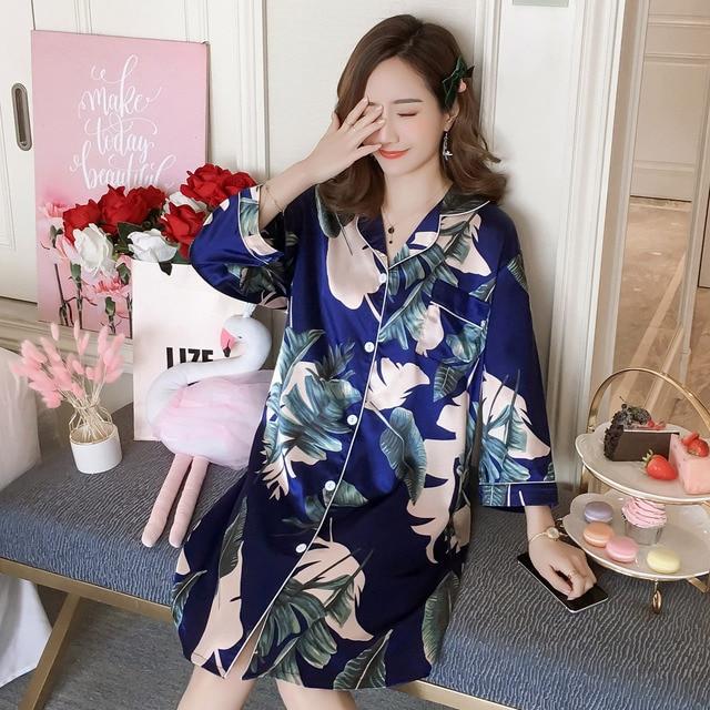 2020 Summer Silk Womens Sleepwear Sexy Sleepshirt Long Print Ladies Nightgown Young Girl Middle Sleeve Outwear Nightdress Party