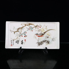 Chinese Old Porcelain Square Plate With Pattern Of Pink Flower And Bird