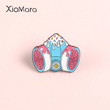 Creative Melty Gas mask Enamel Pin Meme ACG Anime Cosplay Ice Cream Yummy Mask Cake Sweet Tooth Jewelry Badge Brooches Lapel Pin