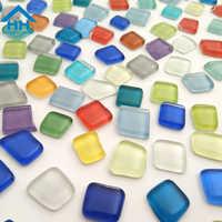 100g Irregular DIY Mosaic Making Tile Rainbow Stones Candy Mosaic Tiles Art Crafts Transparent Glass Tessera Garden Decoration