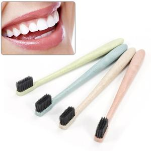 1 Pcs Eco Friendly Portable Travel Toothbrush Wheat Straw Handle Bamboo Charcoal Toothbrush Tongue Cleaner For Kids And Adults
