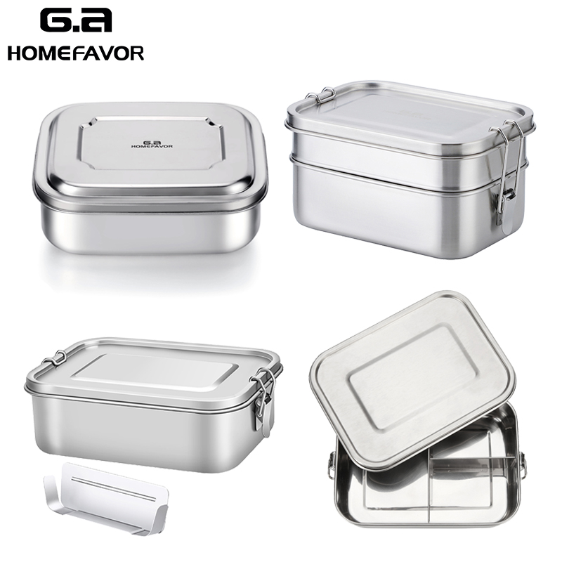 Storage-Box Snack Lunch-Container Bento Stainless-Steel Kids HOMEFAVOR G.a for Women