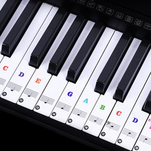 88-key Transparent Piano Keyboard Stickers 88/61/54/49 Key Electronic Stave Note Sticker Musical Symbol Label