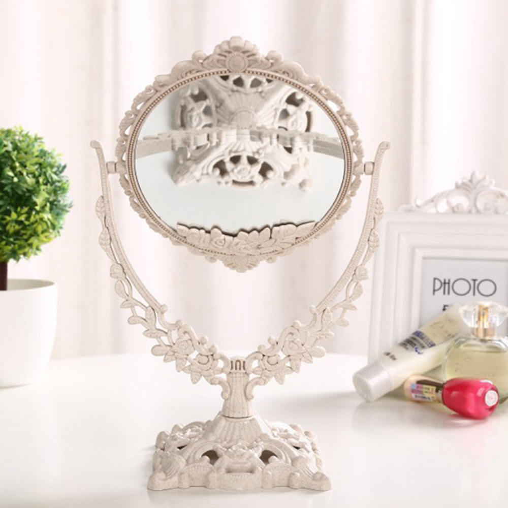 European Style Makeup Mirror Vintage Double-Sided Dressing Mirror Elegant Makeup Beauty Tools Valentine's Day Gift For Girl