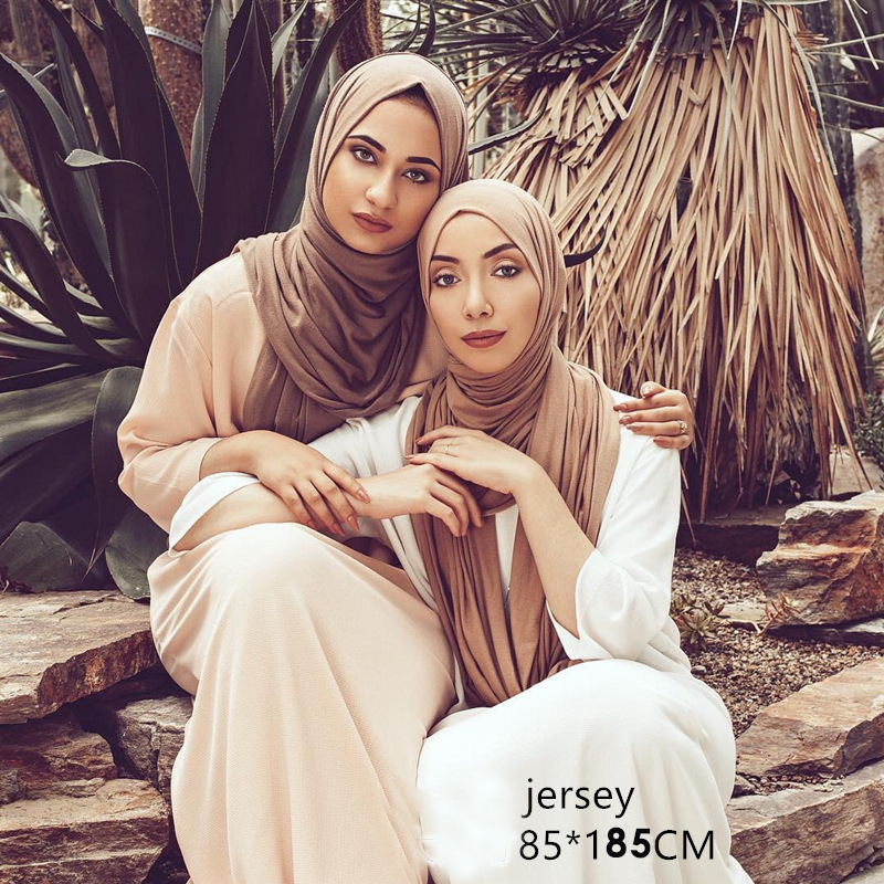 85*180cm Muslim Women Jersey Hijab Scarf Islamic Soft Cotton Headscarf Ladies Plain Shawls And Wraps Foulard Femme Musulman