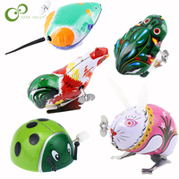 2Pcs/set Animal Iron Clockwork Toy Jumping frog Rooster Mouse Rabbit Ladybug Classic Children's Educational Toys LXX